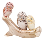 Herend Owls On Branch Figurine Multicolor Fishnet