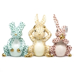 Herend Three Wise Bunnies Figurine Multicolor Fishnet