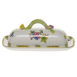 Herend Queen Victoria Covered Butter Dish With Branch