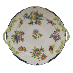 Herend Queen Victoria Blue Plate With Handles