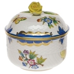 Herend Queen Victoria Blue Covered Sugar With Rose