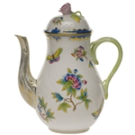 Herend Queen Victoria Blue Coffee Pot With Rose