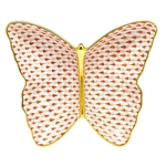 Herend Figurine Butterfly Dish Rust Fishnet