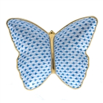 Herend Figurine Butterfly Dish Blue Fishnet