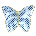 Herend Figurine Butterfly Dish Sapphire Fishnet