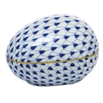 Herend Large Egg Figurine Sapphire Fishnet