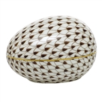 Herend Large Egg Figurine Chocolate Fishnet