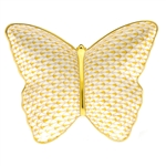 Herend Figurine Butterfly Dish Butterscotch Fishnet