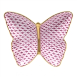 Herend Figurine Butterfly Dish Raspberry Fishnet