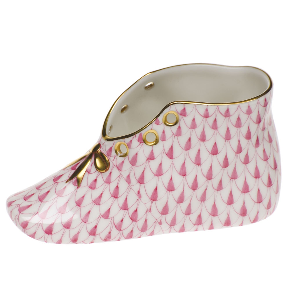 Herend Baby Shoe Raspberry Fishnet at Herendstore