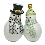 Herend Figurine Snowman Couple Multicolor Fishnet