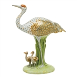 Herend Sandhill Crane and Babies Figurine Reserve Collection