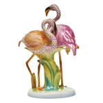 Herend Flamingo Duet Light Orange Raspberry and Rust Fishnet