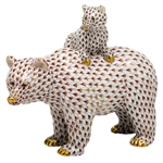 Herend Figurine Grizzly Bear and Baby Reserve Collection