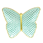 Herend Figurine Butterfly Dish Green Fishnet