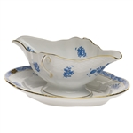 Herend Chinese Bouquet Blue Gravy Boat