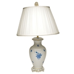 Herend Chinese Bouquet Blue Basket Weave Lamp With Shade