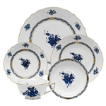 Herend Chinese Bouquet Black Sapphire Five Piece Place Setting