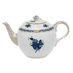 Herend Chinese Bouquet Black Sapphire Teapot with Rose
