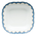 Herend Fish Scale Blue Border Square Fruit Dish