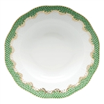 Herend Fish Scale Green Border Rim Soup Plate