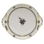 Herend Chinese Bouquet Black Round Tray With Handles