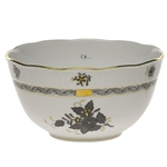 Herend Chinese Bouquet Black Round Serving Bowl