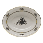 Herend Chinese Bouquet Black Oval Vegetable Dish