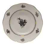 Herend Chinese Bouquet Black Rim Soup Plate