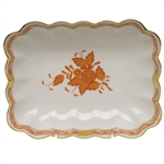 Herend Chinese Bouquet Rust Oblong Dish