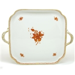 Herend Chinese Bouquet Rust Square Tray with Handles