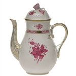 Herend Chinese Bouquet Raspberry Coffee Pot With Rose