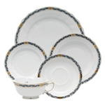 Herend Chinese Bouquet Garland Black Sapphire Five Piece Place Setting