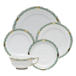Herend Chinese Bouquet Garland Green Five Piece Place Setting