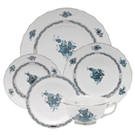 Herend Chinese Bouquet Turquoise and Platinum Five Piece Place Setting