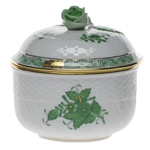 Herend Chinese Bouquet Green Covered Sugar With Rose