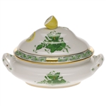 Herend Chinese Bouquet Green Mini Tureen With Lemon