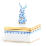 Herend Bunny Box Blue Fishnet