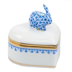 Herend Bunny Heart Box Blue Fishnet