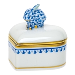 Herend Petite Heart Box with Bunny Sapphire Fishnet