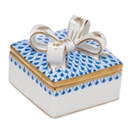 Herend China Box with Bow Sapphire Fishnet