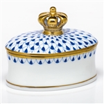 Herend Figurine Box With Crown Sapphire Fishnet