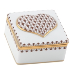 Herend Heart Porcelain Box Chocolate Fishnet