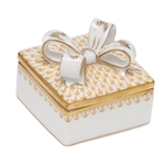 Herend China Box with Bow Butterscotch Fishnet