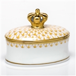 Herend Figurine Box With Crown Butterscotch Fishnet