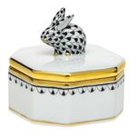 Herend Petite Octagonal Box with Bunny Black Fishnet