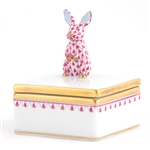 Herend Bunny Box Raspberry Fishnet