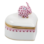 Herend Bunny Heart Box Raspberry Fishnet