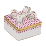 Herend China Box with Bow Raspberry Fishnet