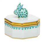 Herend Petite Octagonal Box with Bunny Fishnet